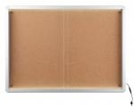 Gablota wewnętrzna 2x3 z przesuwanymi drzwiami model 1 12xA4 (138x68cm) - korkowa z oświetleniem LED