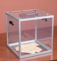 Urna wyborcza przezroczysta z pleksi z licznikiem i klapą - wysokość 32cm
