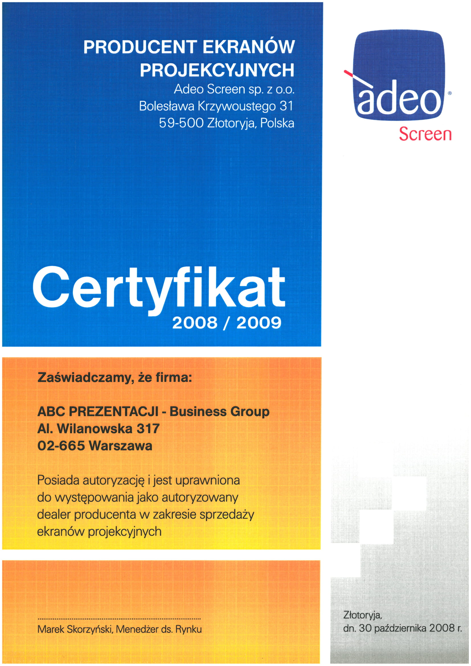 Certyfikat Adeo