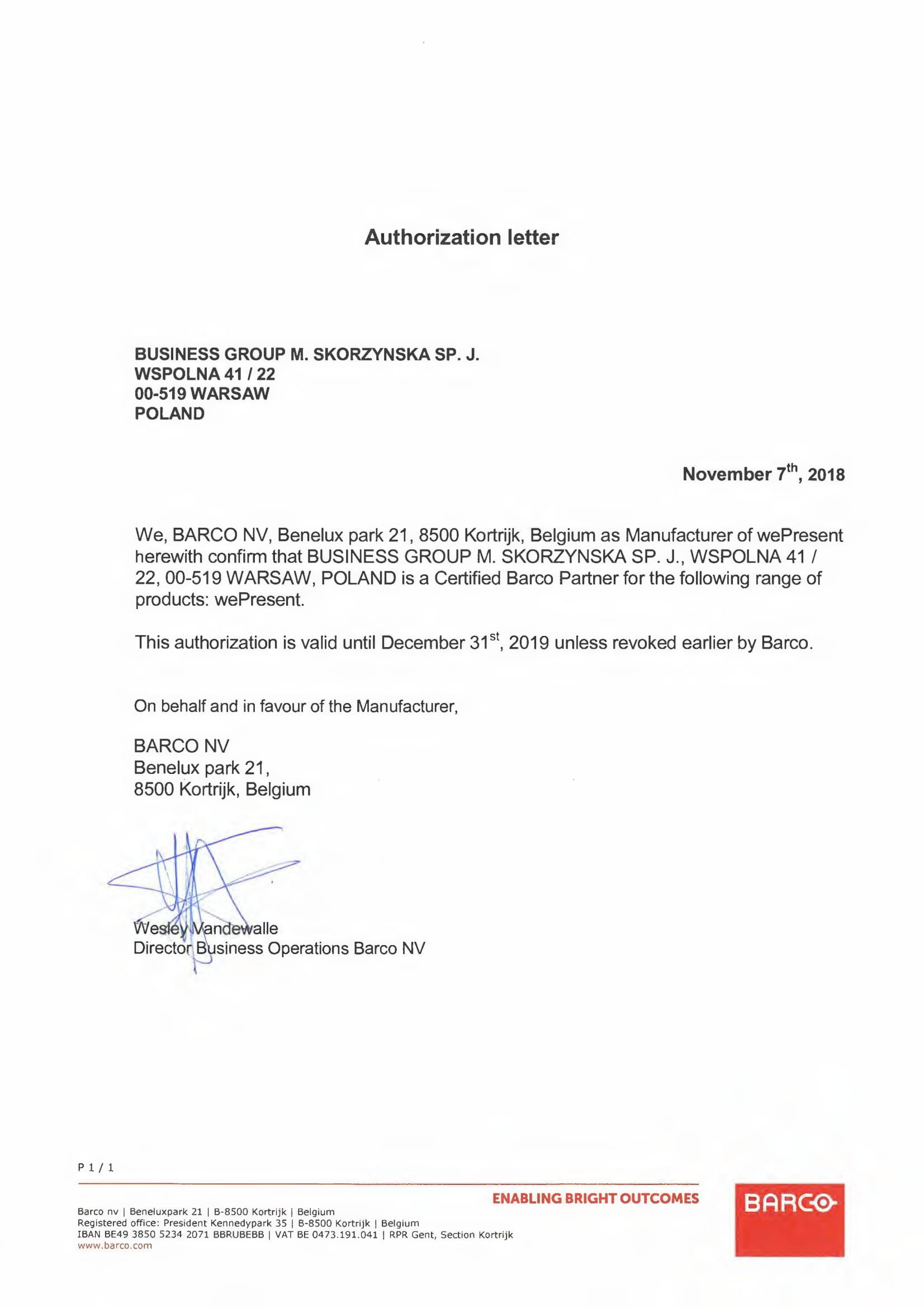 Certyfikat Barco