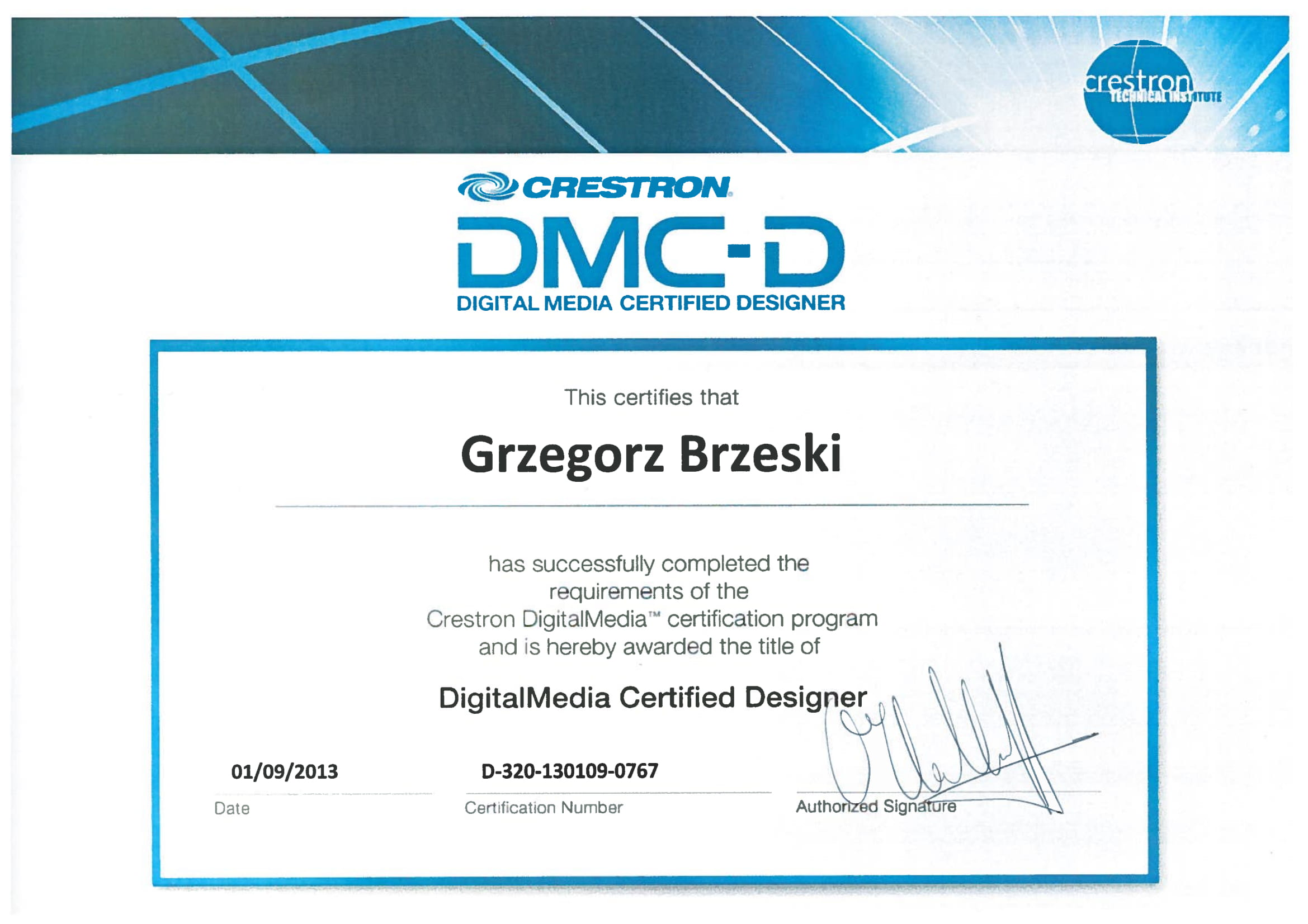 Certyfikat Creston Dmc