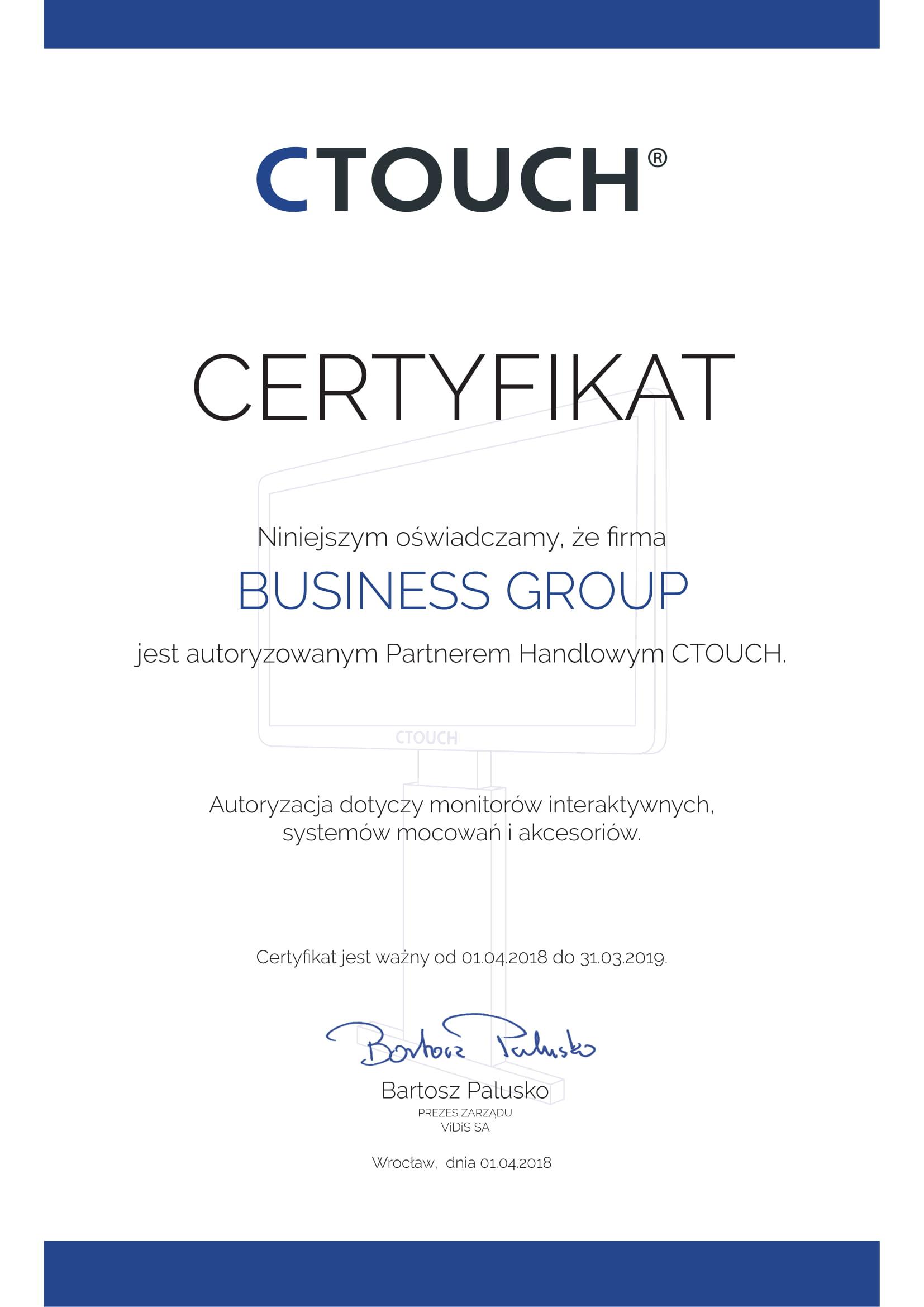 Certyfikat Ctouch