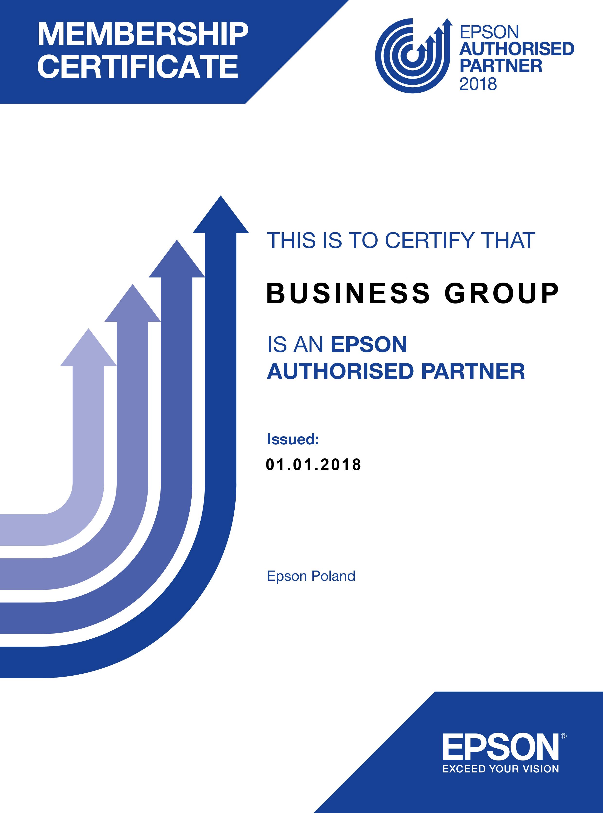 Certyfikat Epson