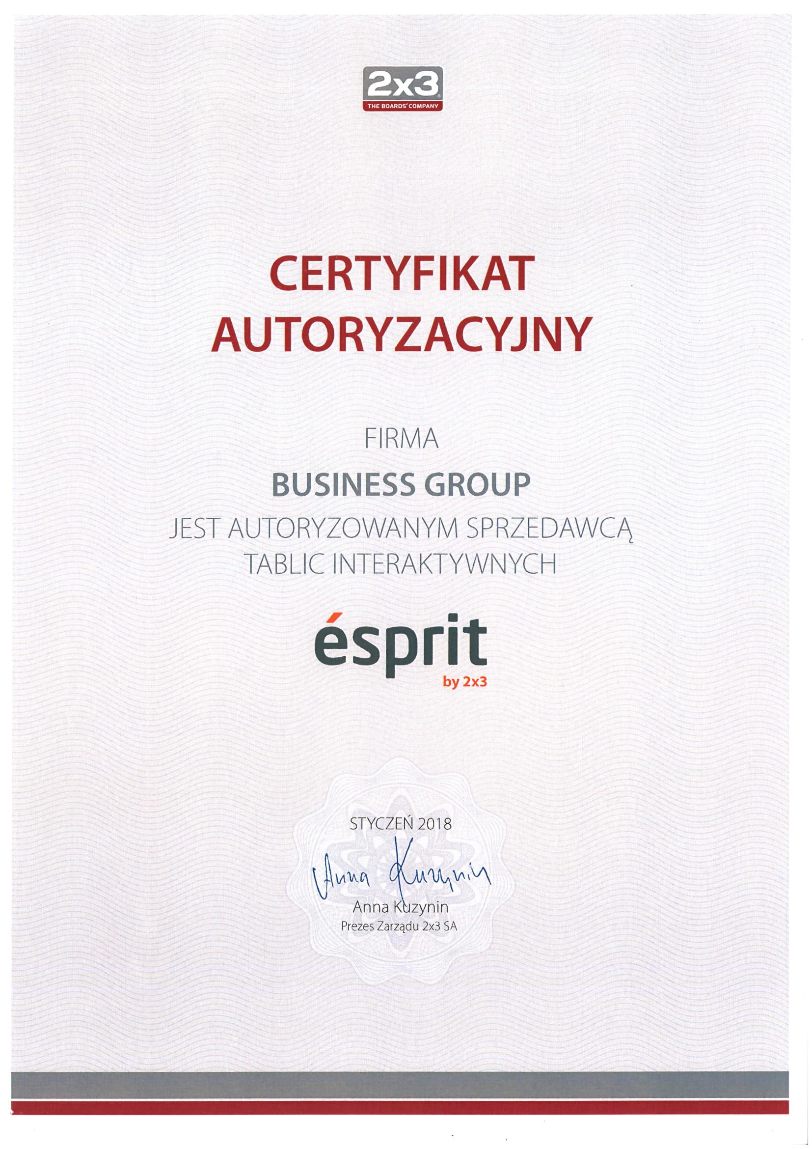 Certyfikat Esprit