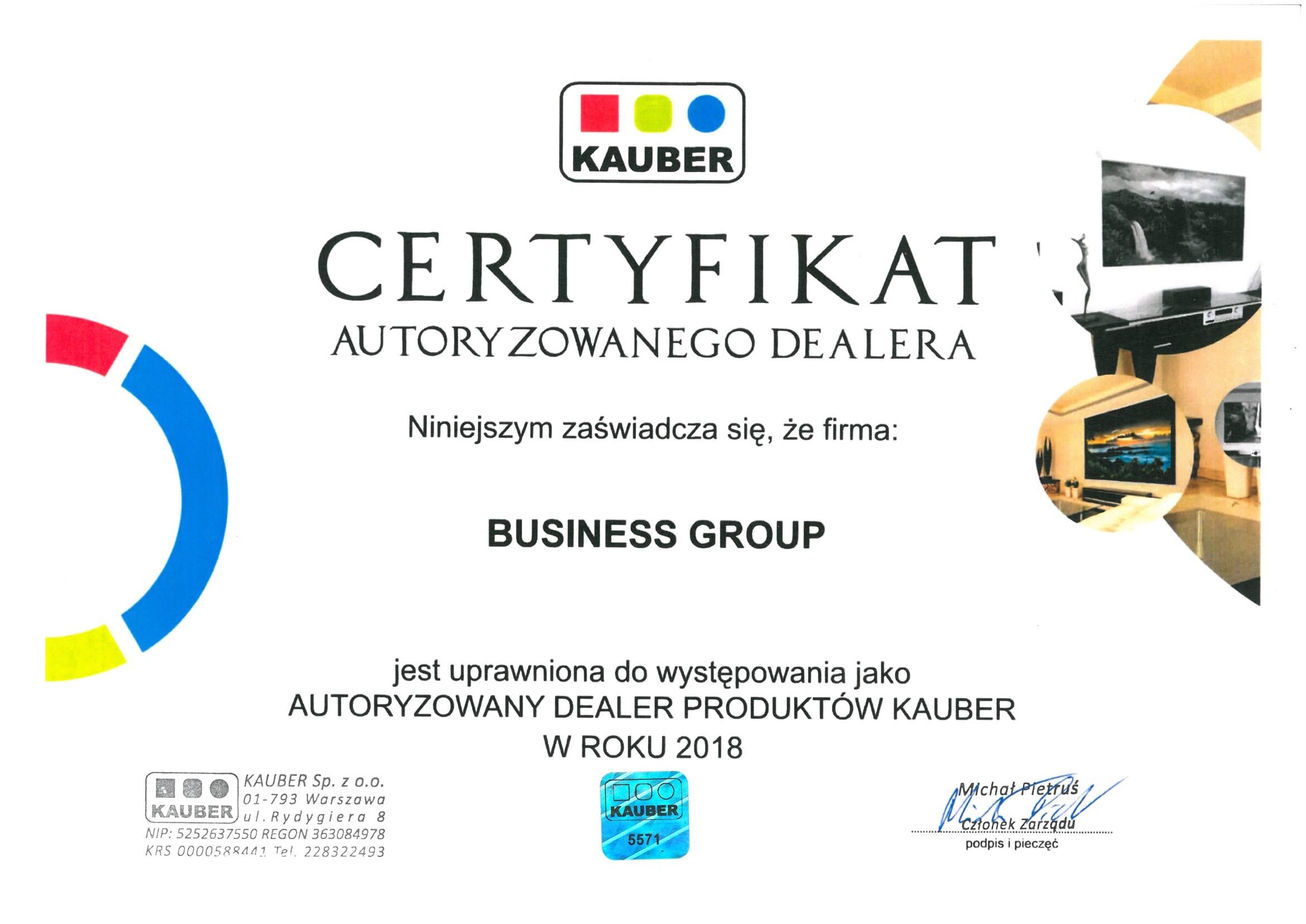 Certyfikat Kauber