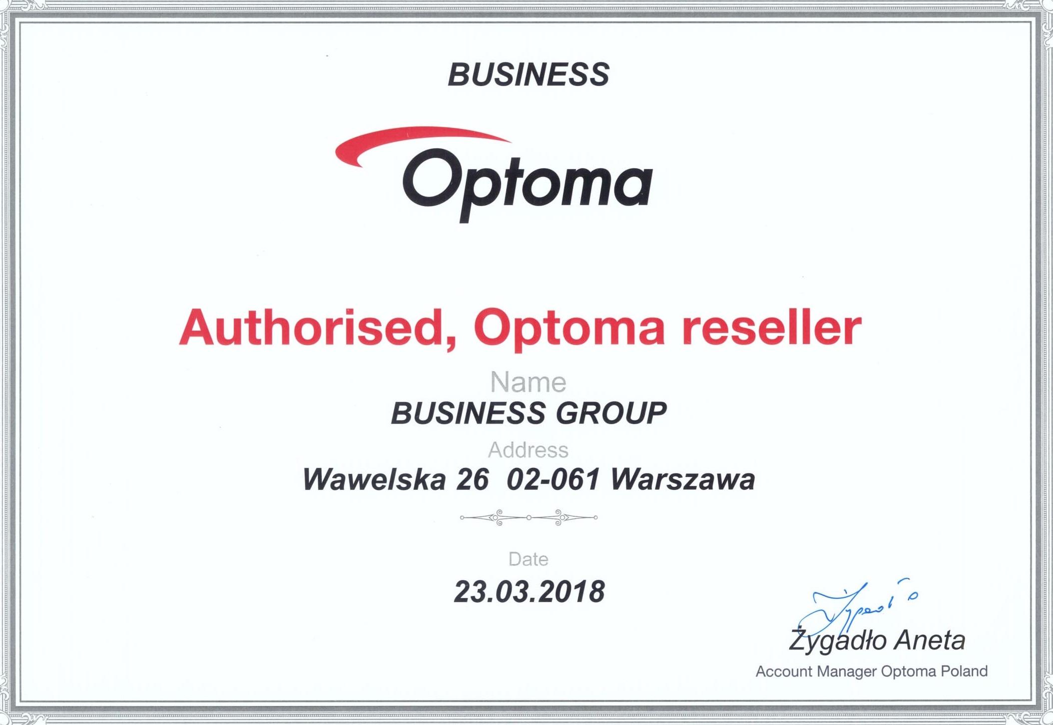 Certyfikat Optoma