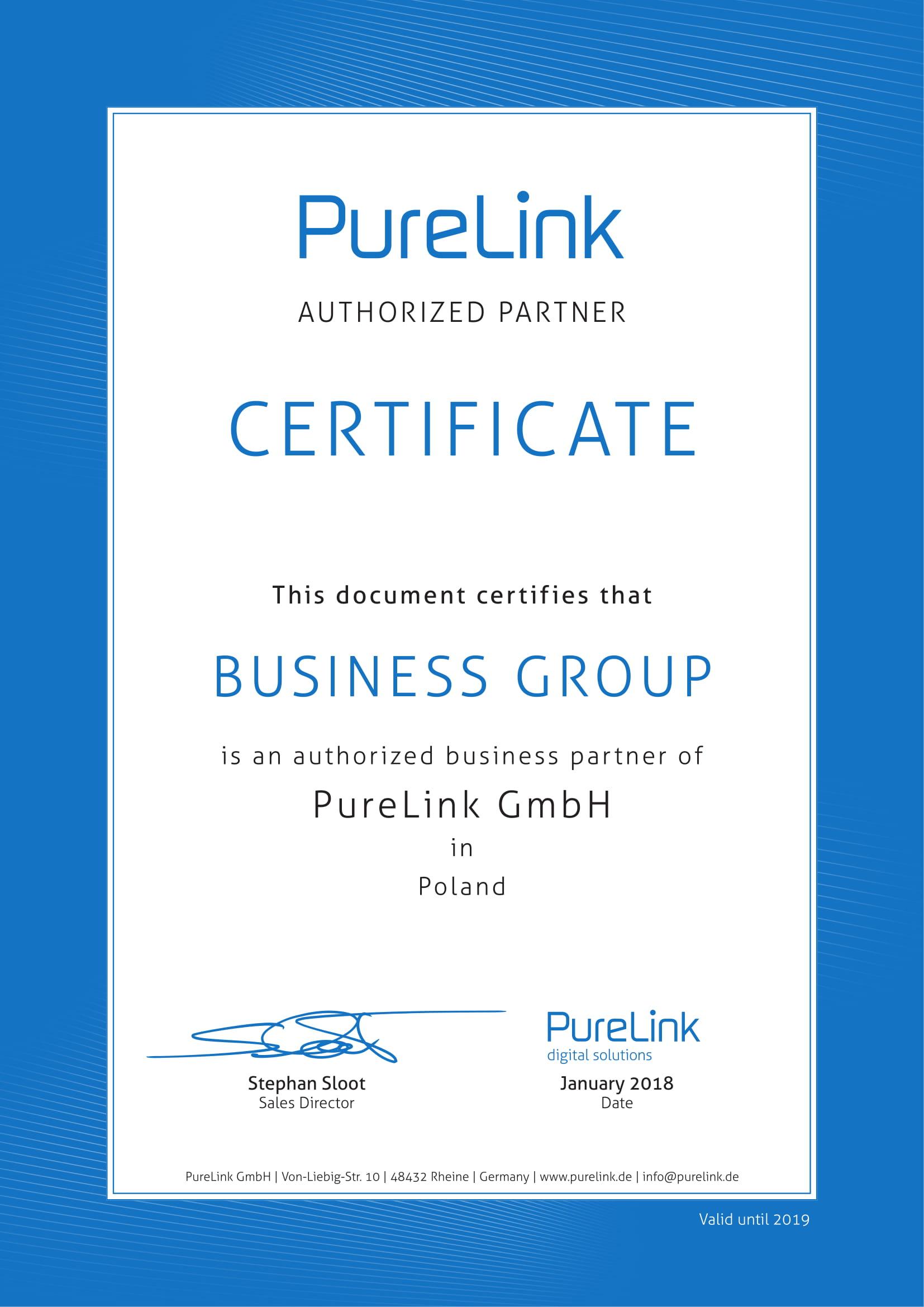 Certyfikat Purelink