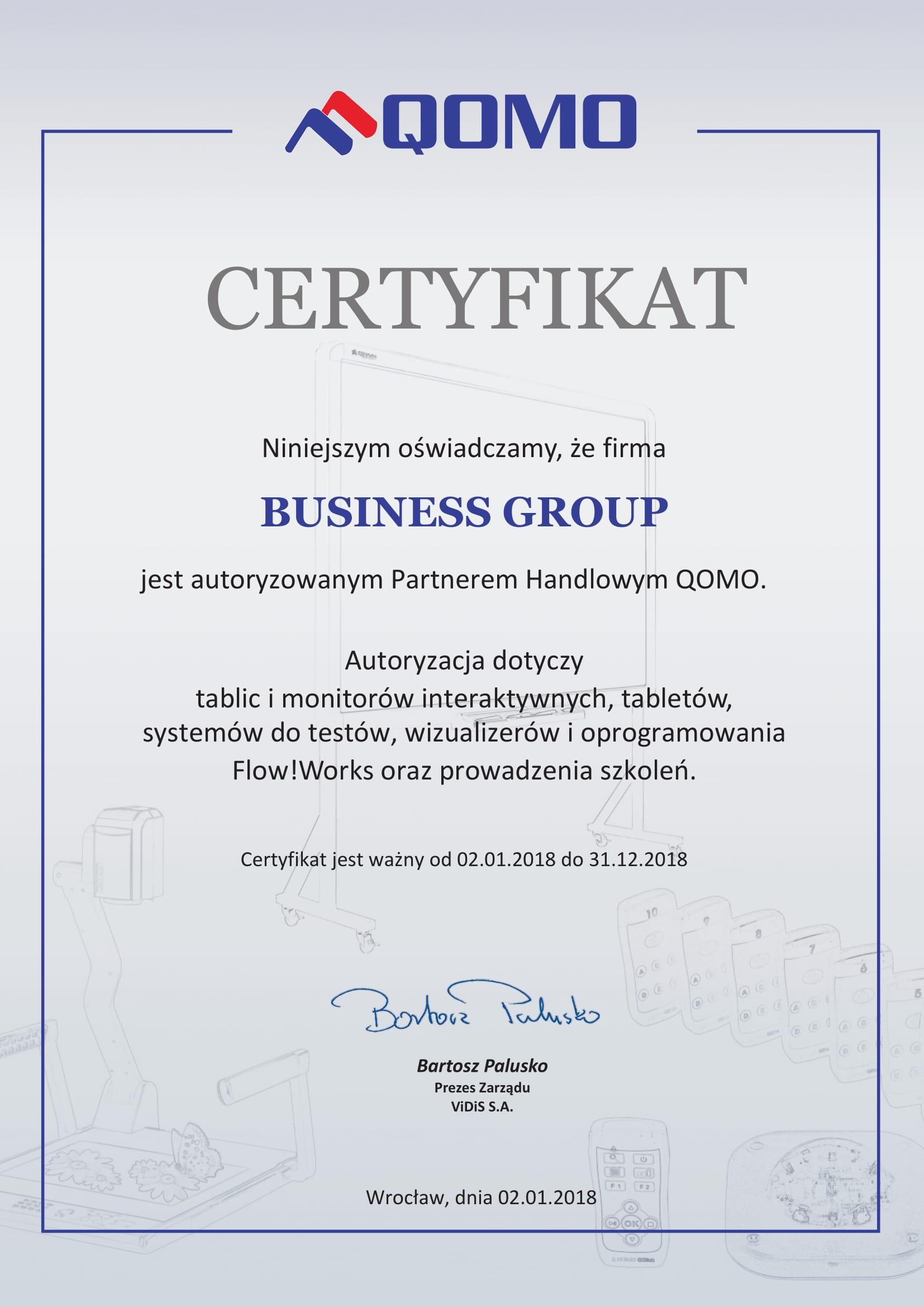 Certyfikat Qomo