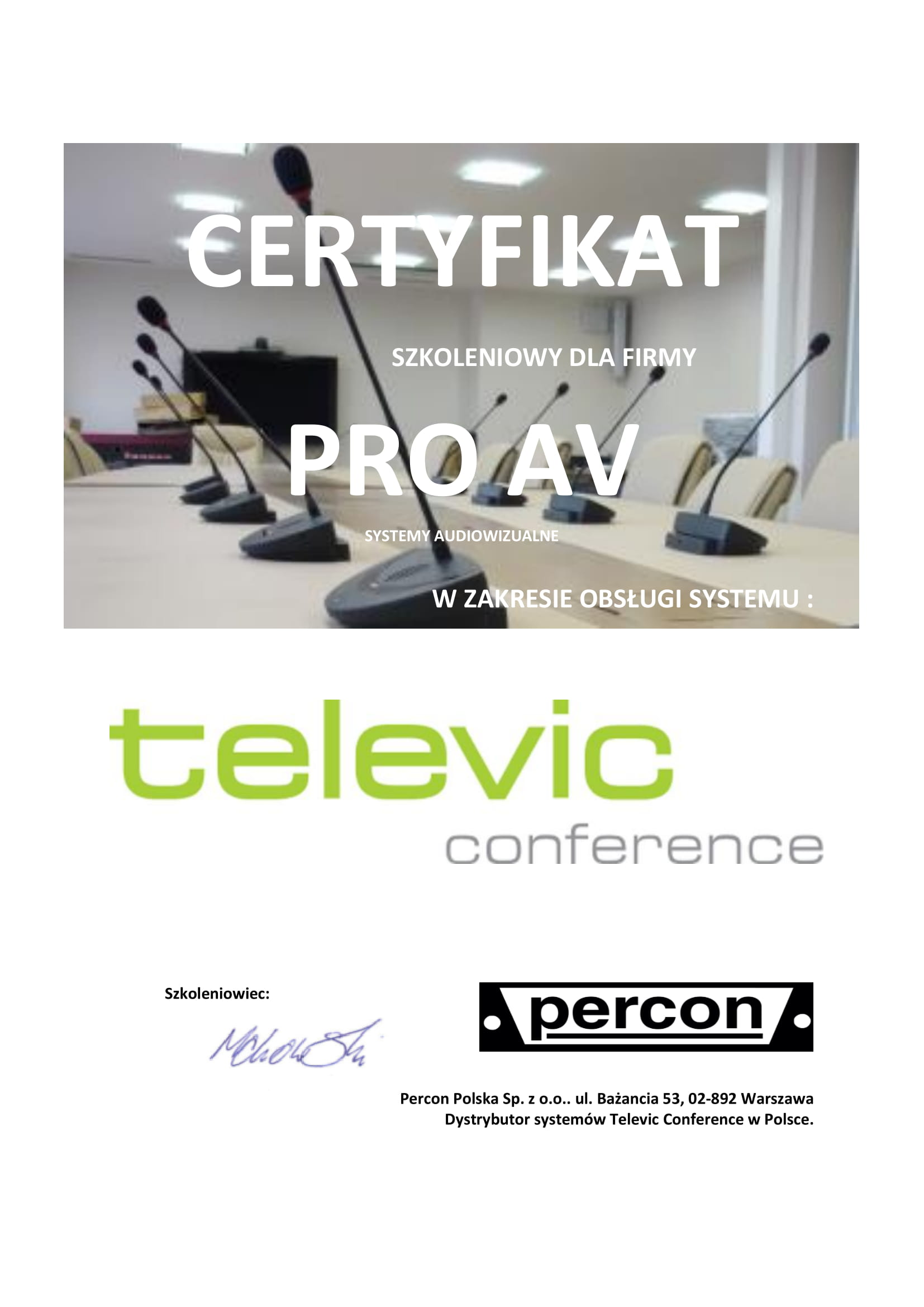 Certyfikat Televic