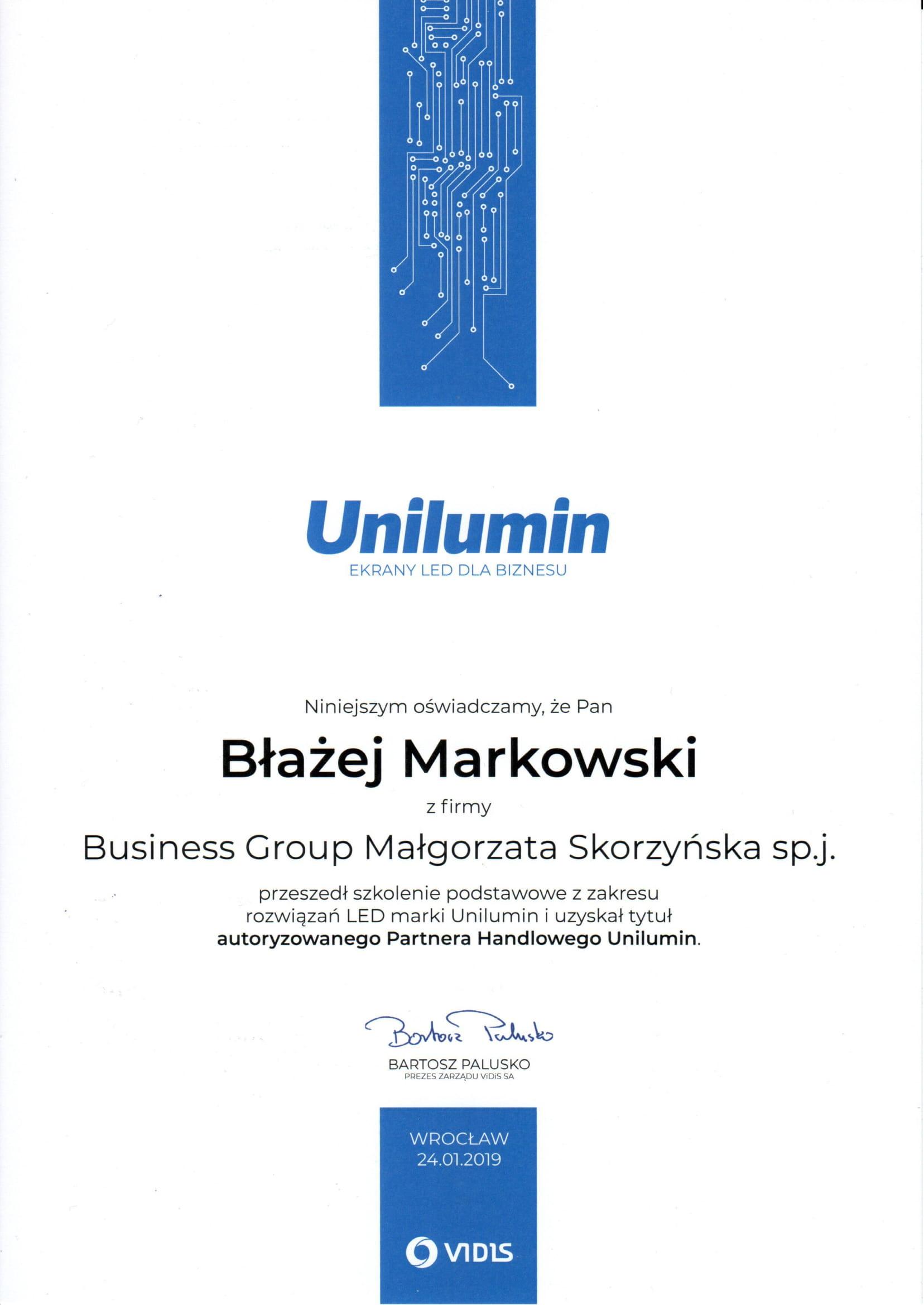 Certyfikat Unilumin