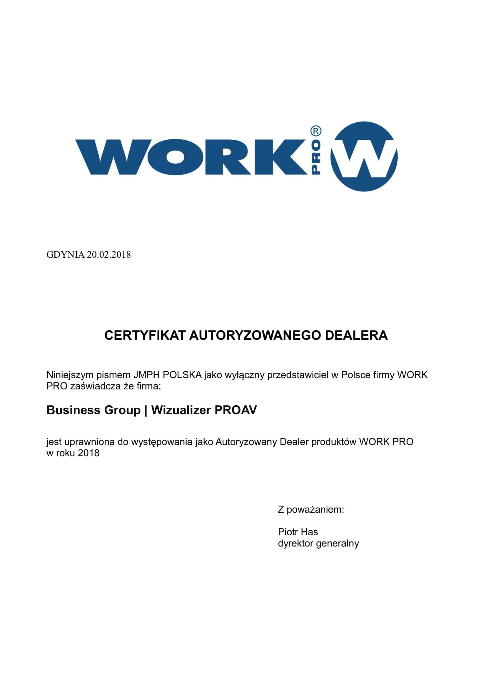 Certyfikat Work